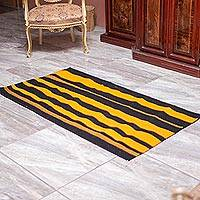 Zapotec wool rug, 'Oaxaca Bumblebee' (2.5x5) - Artisan Crafted Zapotec Wool Rug with Natural Dyes (2.5x5)