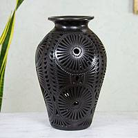 Decorative ceramic vase, 'Floral Fiesta' - Decorative Vase in Barro Negro