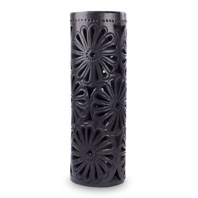 Decorative ceramic vase, 'Slender Blossoms' - Slender Black Pottery Vase