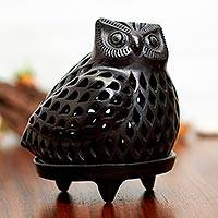 Ceramic teallight candleholder, 'Glowing Owl' - Artisan Crafted Black Pottery Tealight Candle Holder