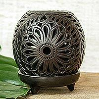 Ceramic tealight holder, 'Black Flower Fest'