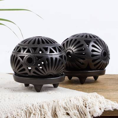 Ceramic tealight candleholders, 'Floral Harmony' (pair) - Oaxaca Black Pottery T-light Candleholders (pair)