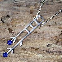 Sterling silver pendant necklace, 'Blue Roses' - Modern Sterling Silver Necklace from Mexico