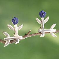 Sterling silver button earrings, 'Blue Roses' - Modern Sterling Silver Button Earrings from Mexico