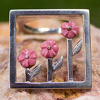Sterling silver cocktail ring, 'Three Roses' - Sterling Silver Pink Floral Ring from Mexico