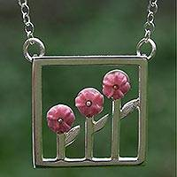 Sterling silver pendant necklace, 'Three Roses' - Pink Floral Sterling Silver Necklace from Mexico