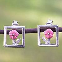 Sterling silver button earrings, 'Pink Roses' - Pink Floral Sterling Silver Earrings from Mexico