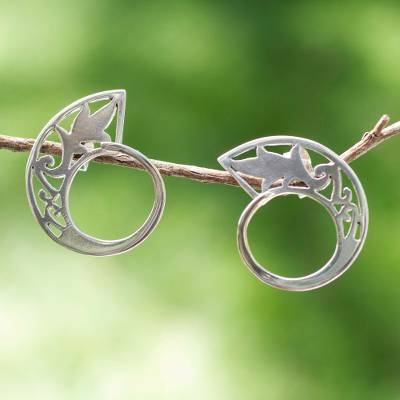 Sterling silver button earrings, Filigree Wave