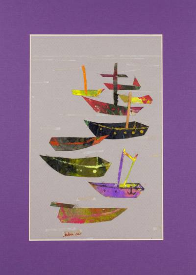 'Boats' - Signed Fine Art Painting Collage from Mexico