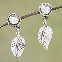 Sterling silver dangle earrings, 'Taxco Nature' - Artisan Jewelry Sterling Silver Handcrafted Earrings