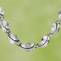 Sterling silver link necklace, 'Nature's Muse' - Taxco jewellery Handcrafted Sterling Silver Necklace