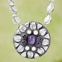 Cultured pearl and amethyst pendant necklace, 'Taxco Nature' - Pearl Amethyst and Sterling Silver Necklace