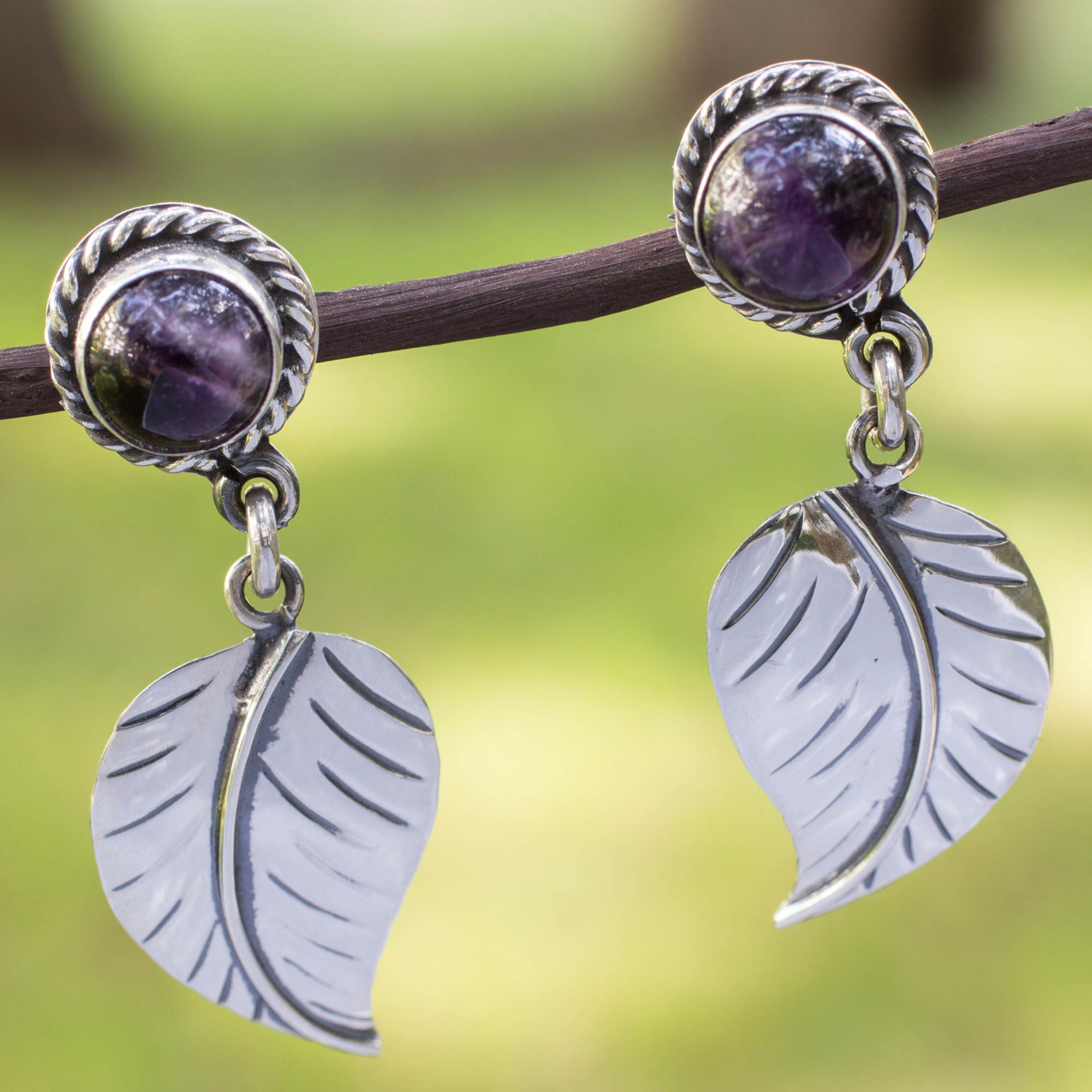 Artisan Crafted Amethyst and Sterling Silver Earrings - Taxco ...