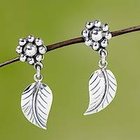 Sterling silver flower earrings, 'Floral Renaissance' - Sterling Silver Earrings from Taxco Jewelry Collection