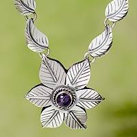 Amethyst flower necklace, 'Floral Renaissance' - Taxco Sterling Silver Necklace with Amethyst