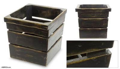 Wood magazine rack, 'Rustic Black' - Rustic Black Handmade Pinewood Magazine Rack
