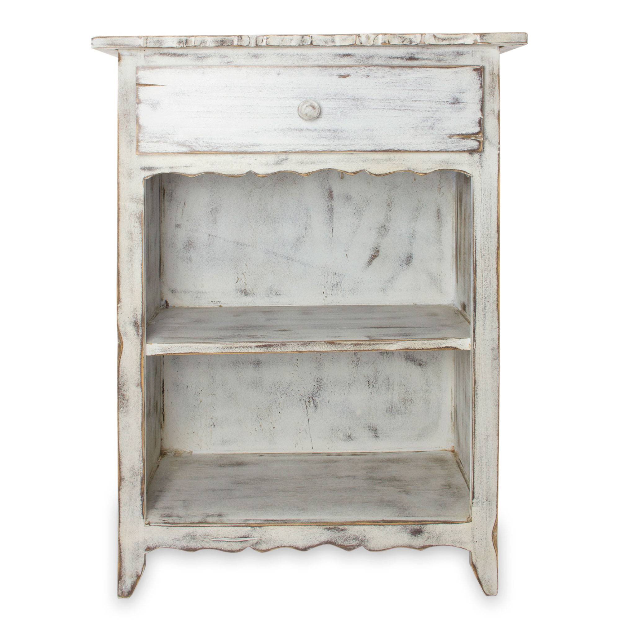 Rustic White Wood Side Table with Drawer and Shelves Tacambaro