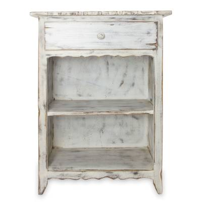 Wood Side Table Tacambaro White Rustic With Drawer