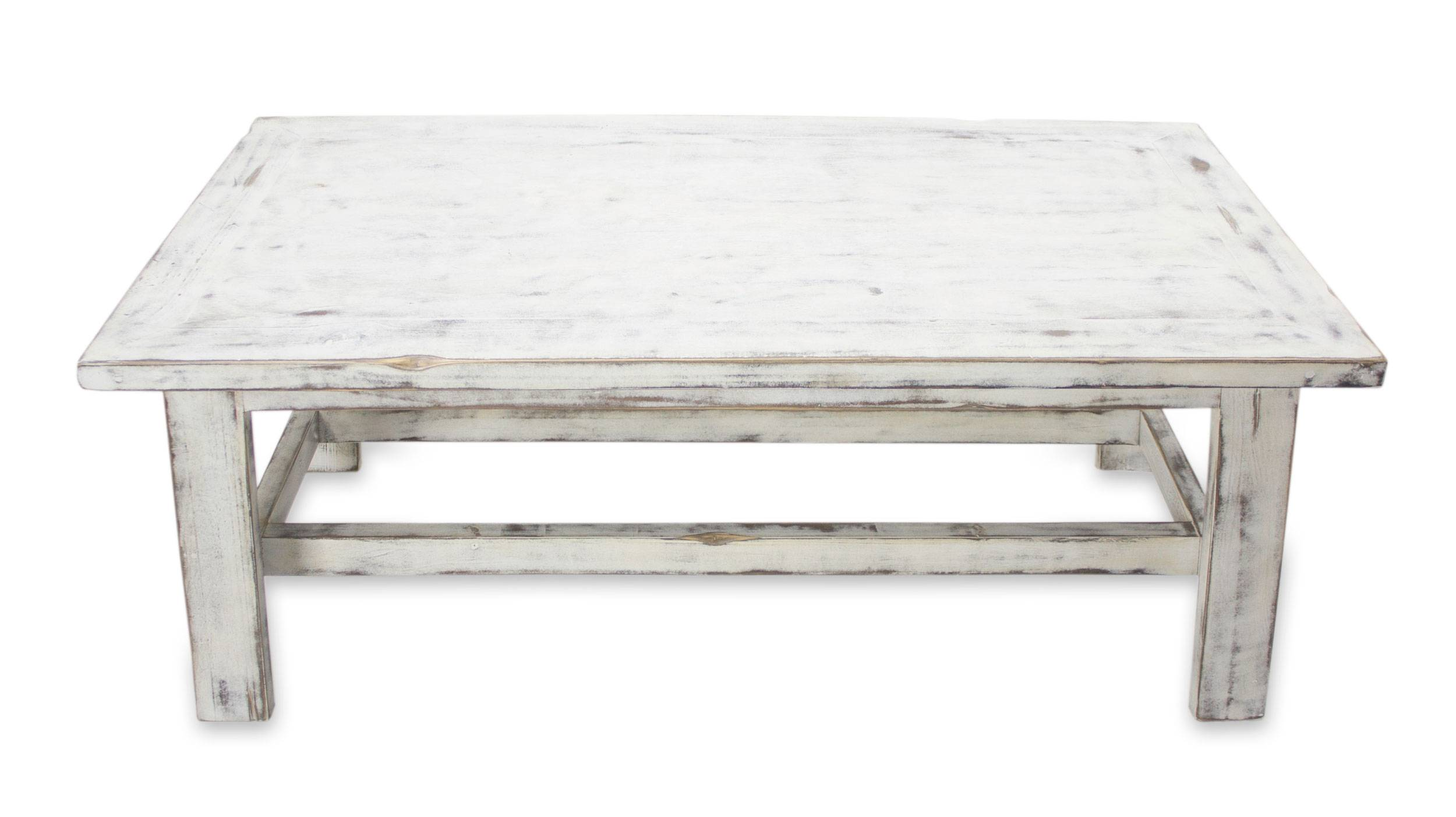 Handcrafted Rustic White Wood Coffee Table Yahualica Cloud