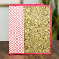 Natural fibers journal cover, 'Mexican Pink' - Handcrafted Natural Fibers Journal Cover