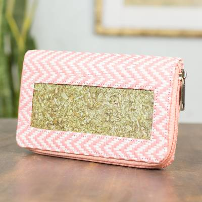 Natural fibers wallet, 'Mexican Pink' - Hand Crafted Natural Fibers Wallet