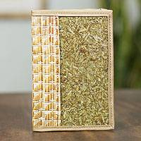 Natural fibers passport holder, 'Mexican Nature' - Handcrafted Natural Fibers Passport Holder