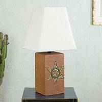 Ceramic table lamp, 'Starlight' - Handmade Ceramic Table Lamp with Cotton Shade