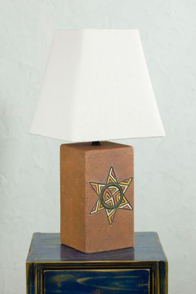 Handmade Ceramic Table Lamp With Cotton Shade, U0027Starlightu0027