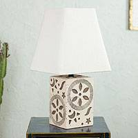 Ceramic table lamp, 'Cosmos II' - Handmade Ceramic Table Lamp with Cotton Shade