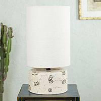 Ceramic table lamp, 'Desert Fossils' - Handmade Ceramic Table Lamp with Cotton Shade