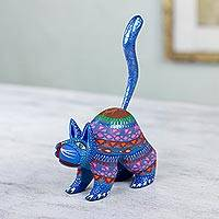 Alebrije sculpture, 'Blue Cat Greeting' - Mexican Alebrije Cat Sculpture