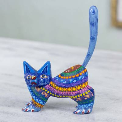 Alebrije sculpture, Playful Blue Kitten