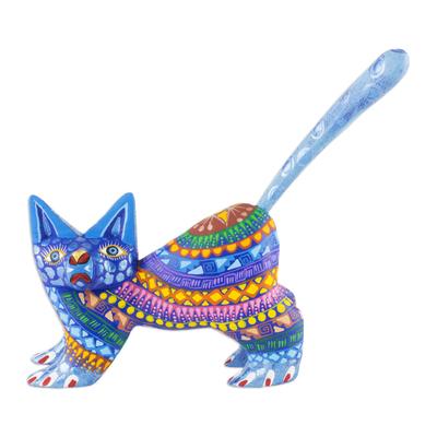 Alebrije sculpture, 'Playful Blue Kitten' - Mexican Alebrije Cat Sculpture
