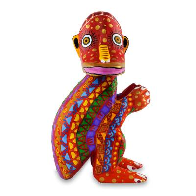 Wood statuette, 'My Monkey Friend' - Colorful Handcrafted Wood Statuette