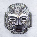 Original Artisan Crafted Ceramic Mask, 'Nocturnal Feast'