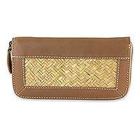 Palm and leather accent wallet, 'Mixteco Honey' - Palm Leaf Women's Wallet Leather Accent