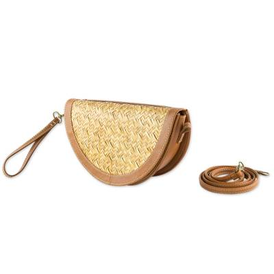 2-in-1 Wristlet and Shoulder Bag Crafted of Palm and Leather