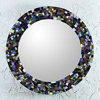 Stained glass mosaic wall mirror, 'Colors of Mexico' - Round Stained Glass Wall Mirror