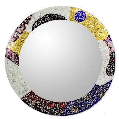 Hand Crafted Stained Glass Mosaic Mirror