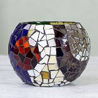 Stained glass tealight candleholder, 'Lunar Rainbow' (medium) - Handcrafted Stained Glass Tealight Candleholder (medium)
