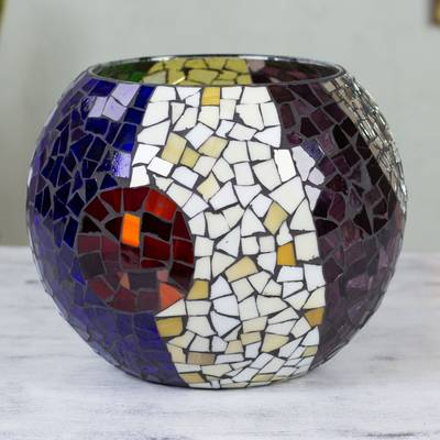 Handcrafted Stained Glass Tealight Candleholder Xl Lunar Rainbow Novica