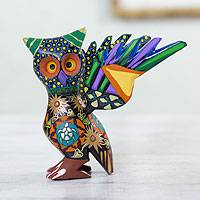 Wood statuette, 'My Owl Protector' - Colorful Handcrafted Wood Statuette