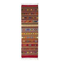 Zapotec wool runner rug, 'My Magical Oaxaca' (2x6.5)