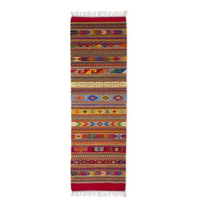 Zapotec wool runner rug, 'My Magical Oaxaca' (2x6.5) - Hand Woven Wool Zapotec Runner Rug (2x6.5)