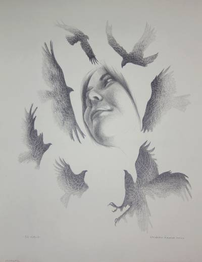 'In Flight' - Black and White Graphite Painting