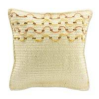 Henequen cushion, 'Yucatan Sunshine' - Handcrafted Henequen Cushion