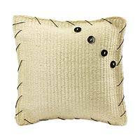 Henequen and bull horn cushion, 'Yucatan Symmetry' - Natural Henequen Cushion with Bull Horn Buttons