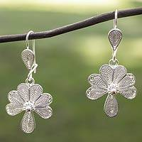 Sterling silver flower earrings, 'Maya Flor' - Artisan Crafted Sterling Silver Filigree Earrings