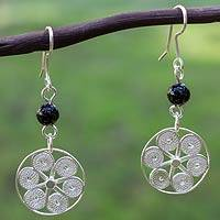 Sterling silver and onyx filigree earrings, 'Festive Pinwheels' - Artisan Crafted Sterling Silver and Onyx Filigree Earrings