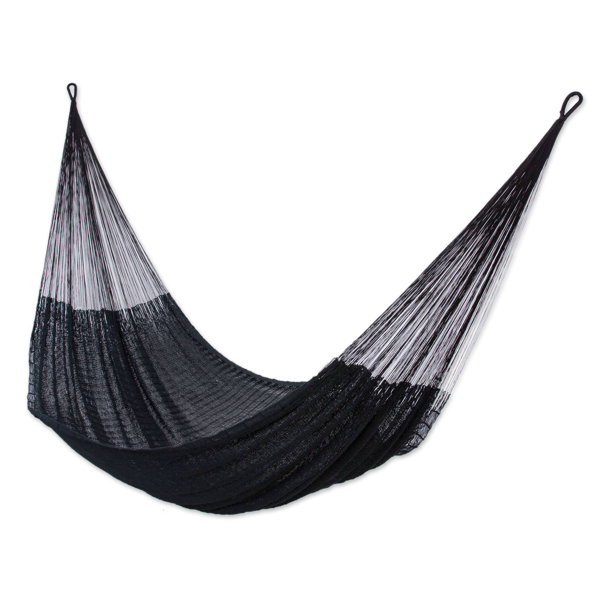 hand woven black cotton hammock  double    diamonds in the night   novica hand woven black cotton hammock  double    diamonds in the night      rh   novica